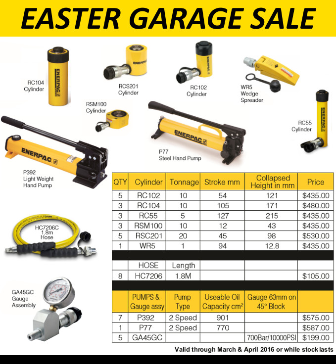 Easter Garage Sale – Enerpac specials at Jonel Hydraulics graphic